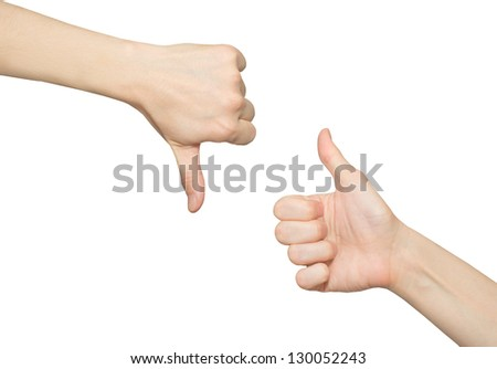 Female thumb up hand and thumb down hand, on a white background