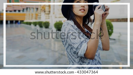 Female Travel Photography Outdoor Banner Graphic Concept - stock photo