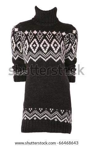 Female turtleneck sweater isolated on white - stock photo