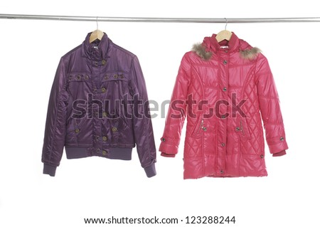 female two jacket on a hanger - stock photo