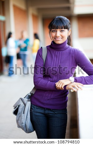 female university student half length portrait - stock photo