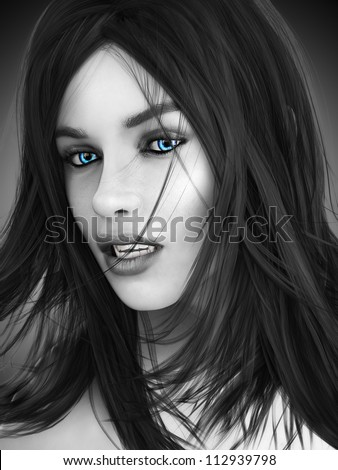 Female vampire, black and white image with colored blue eyes. Photo realistic 3d model. - stock photo