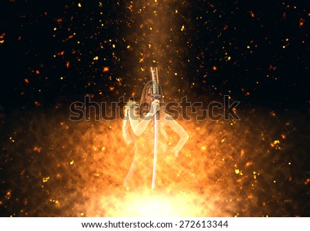 Female vampire burning over dark background