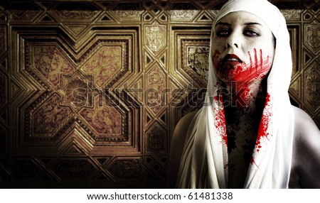 Female vampire with blood stains. Gothic Image halloween - stock photo