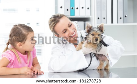 Female veterinarian examining puppy with girl in clinic - stock photo