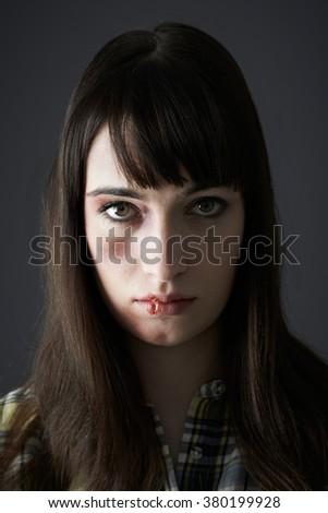 Female Victim Of Domestic Abuse - stock photo