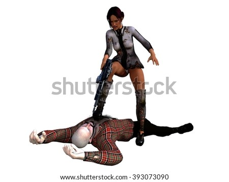 Female vigilante in short tattered dress stands over subdued bald bearded thug