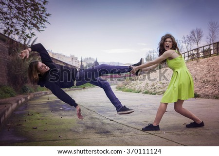 female violence concept angry fight - stock photo
