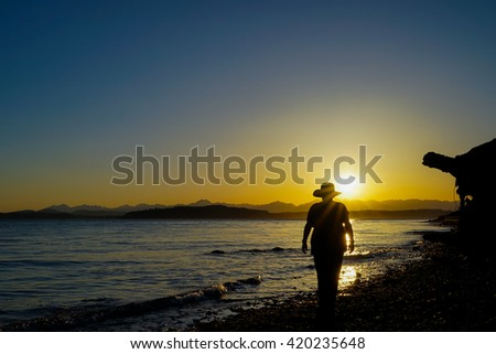 Female Wearing Hat At Beach In Thought Silhouette - stock photo