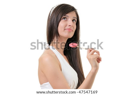 Female with a lollypop isolated on white background