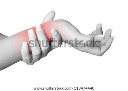 Female with pain in her wrist, isolated in a white background. Red circle around the painful area. - stock photo