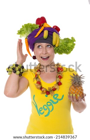 female with turban and jewelry made of fruits and vegetables