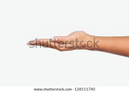 female woman hand holding isolated on white - stock photo