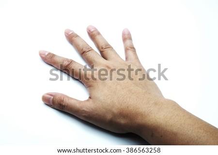 Female/woman hand on white-blue background. - stock photo