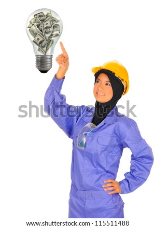 female worker chooses a  Dollar Sign.On a white background - stock photo