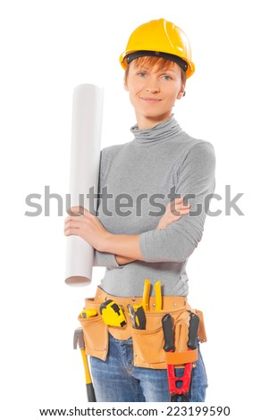 female worker holding rolled up blueprint isolated - stock photo