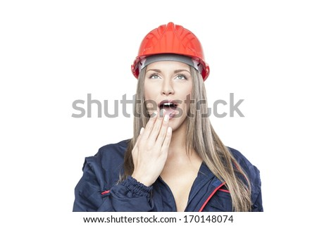 Female worker with safety helmet isolated on white background - stock photo