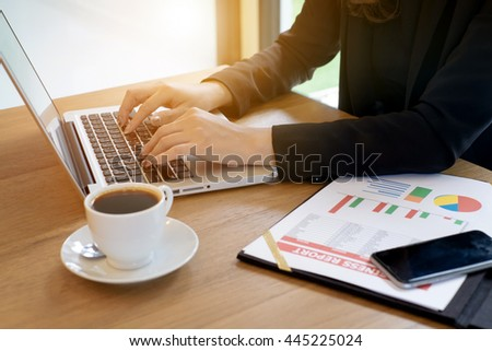 Female working with laptop at home woman's hands on notebook computer Writer blogger designer telework - stock photo