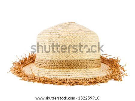 Female woven fashion hat isolated on white background