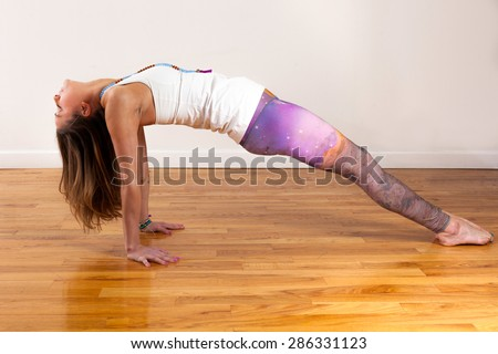 Female Yoga Model Purvottanasana Reverse Tabletop Pose
