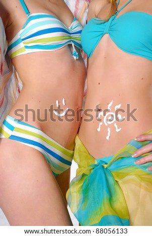 females body with protecting cream - stock photo
