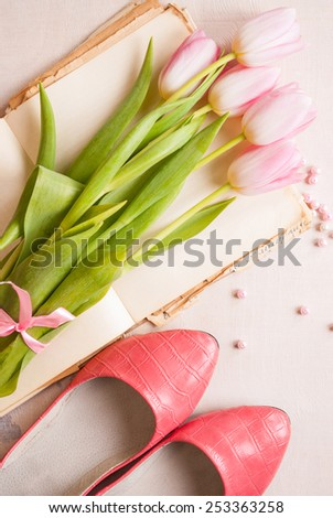 Feminine background with pink tulips - stock photo