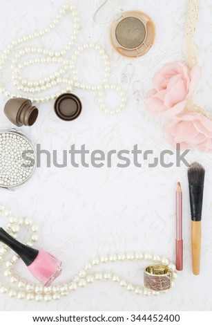 Feminine beauty background - stock photo