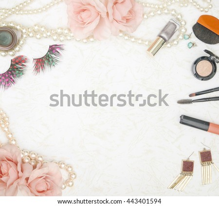 Feminine beauty background - frame composition of f essentials fashion woman items  - stock photo