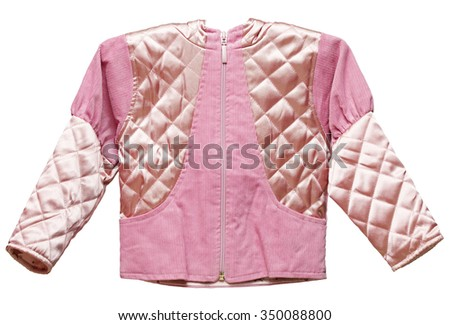 Feminine childs short jacket, with pink diamond pattern stitching on a white back ground.