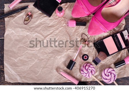 Feminine cosmetic background. Overhead of essentials fashion women objects. Top view - stock photo