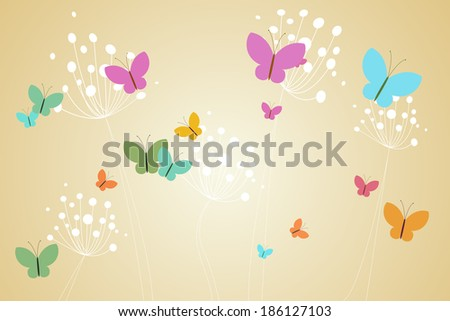 Feminine design of dandelions and butterflies on beige