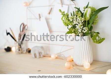 feminine hipster office table decoration