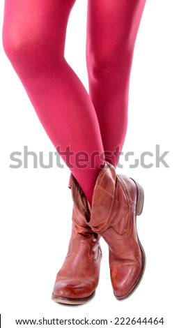 feminine legs with colored tights on white background - stock photo