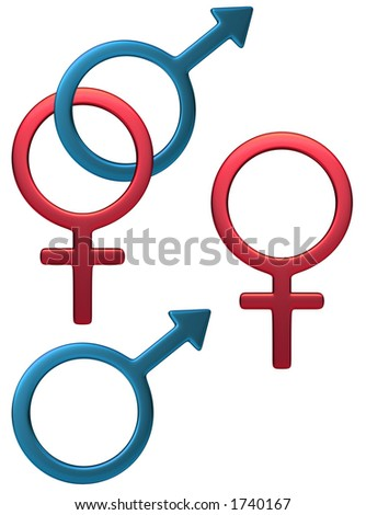 Feminine male symbol in white background, easy to isolate.