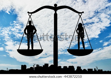 Feminism and equality. Social balance between women and men - stock photo