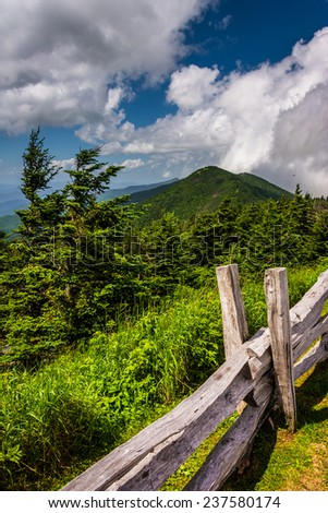 Fence and view of the Appalachians from Mount Mitchell, North Carolina. - stock photo