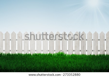 Fence background with green grass and blue sky