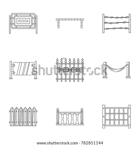 Fence icons set. Outline set of 9 fence  icons for web isolated on white background