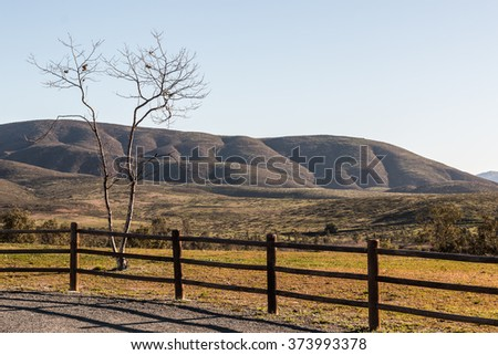 Fence line, tree and mountain background at Lower Otay Lake in Chula Vista, California.  - stock photo