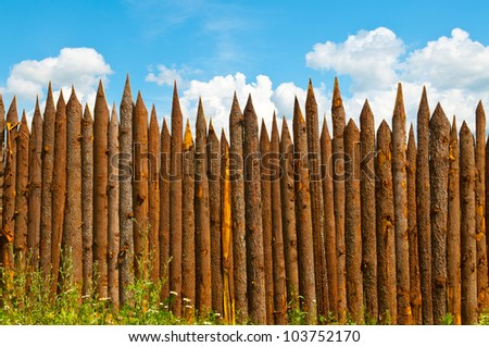 fence made of wood - stock photo
