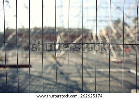 fence metal grill background blur - stock photo