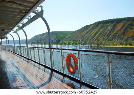 fence of a deck on river cruise boat on Volga river, Russia - stock photo