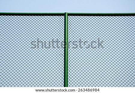 fence of cage and green iron - stock photo