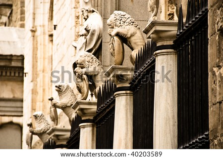 fence of stone lions - stock photo