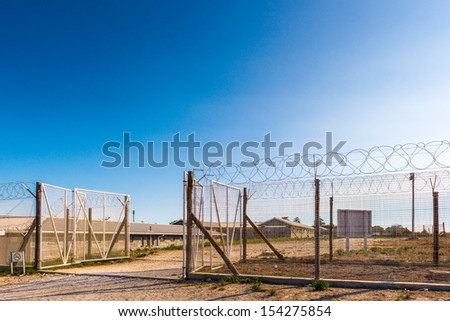 Fence of the Prison on the Robben Island, South Africa, where the President of South Africa Nelson Mandela was imprisoned. UNESCO World heritage - stock photo