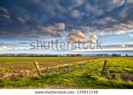 fence on beautiful Dutch farmland before sunset, Groningen, Netherlands - stock photo
