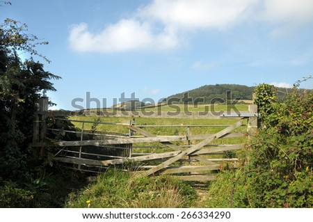 Fence on Dorset coastal path - stock photo