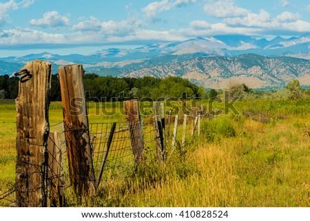 Fence On The Colorado Plains - stock photo