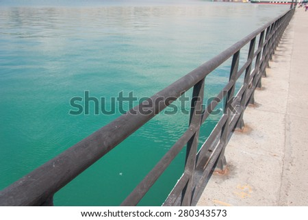 fence on the pier in Novorossijsk