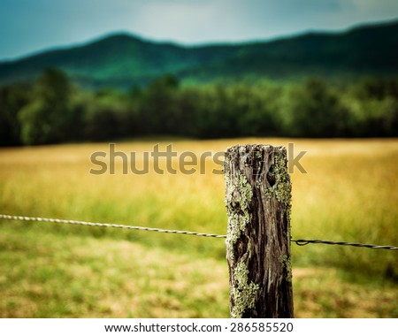 Fence post at Cades Cove Great Smoky Mountains National Park  - stock photo